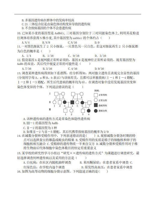 江苏启东中学2019-2020学年下学期高一期中考试生物试卷及答案