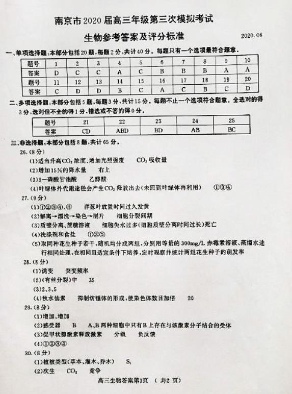 2020年南京市三模考试生物试卷答案,高中报生物补习班有用吗?