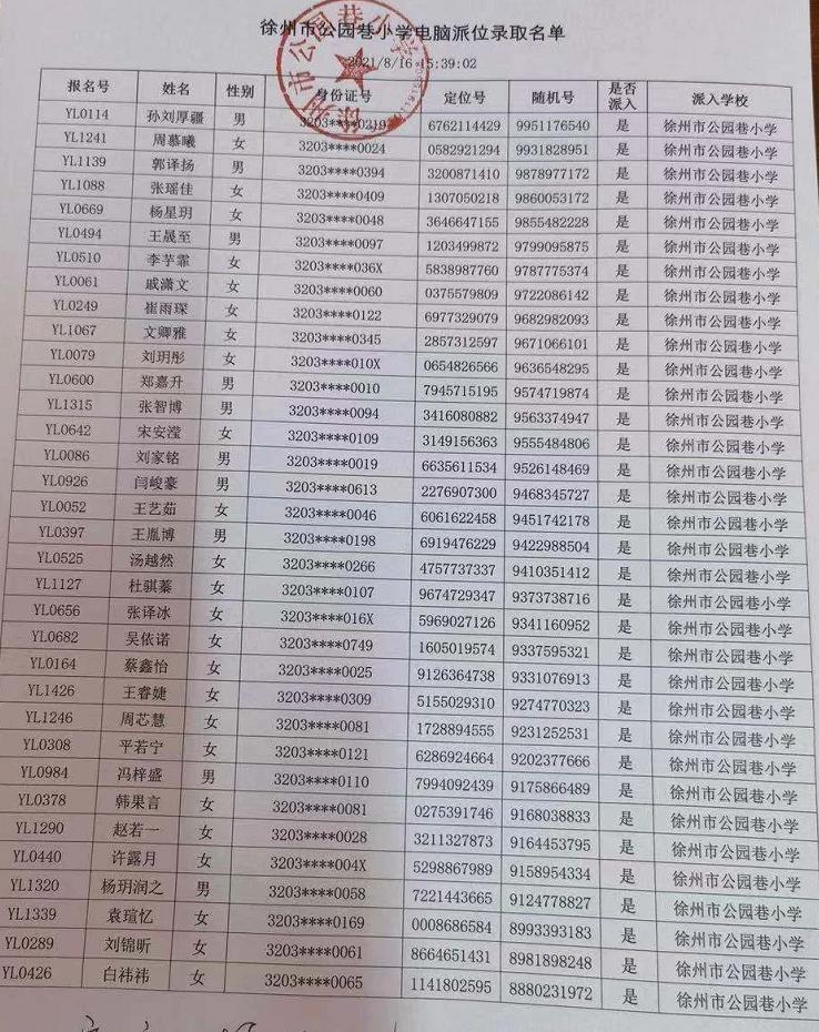 徐州市云龙区、泉山区、鼓楼区2021年小学电脑派位名单公布